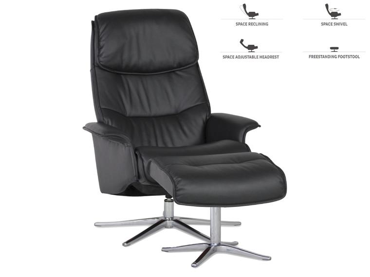 Space 27.70 lænestol m. skammel - sort læder