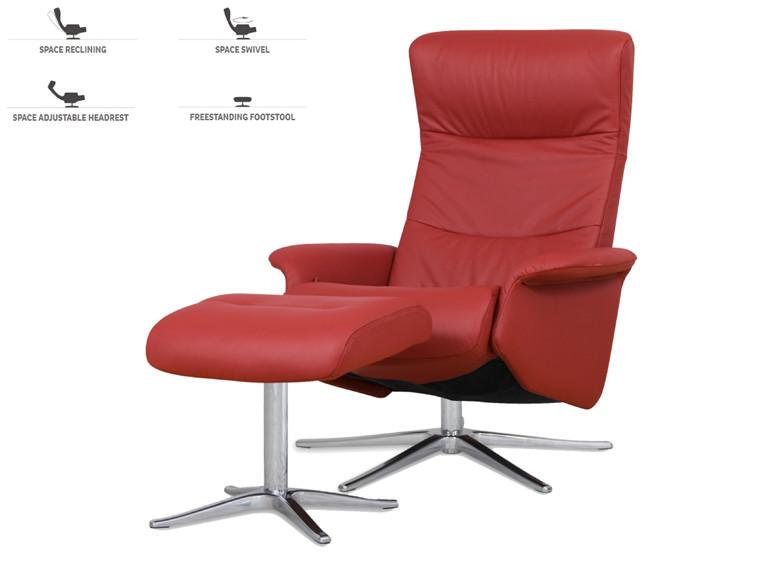 Space 2000 lænestol m. skammel - læder