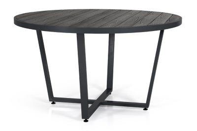 Leone havebord rundt - sort og grå