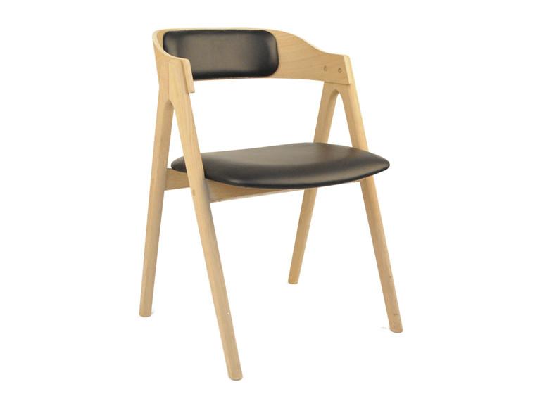 Mette spisebordsstol m. polstret ryg - læder