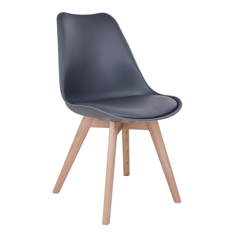 Molde spisebordsstol - gråt sæde - naturtræ stel