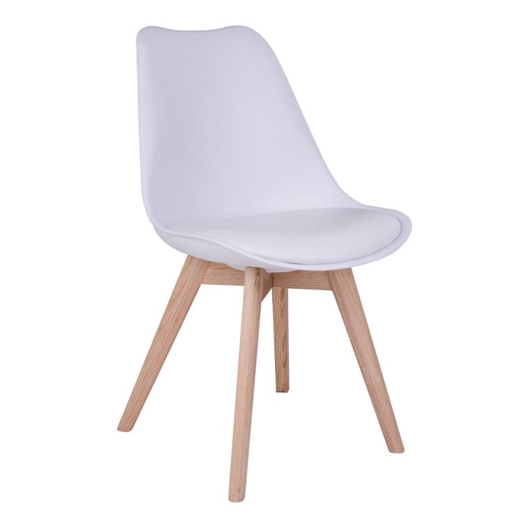Molde spisebordsstol - hvidt sæde - naturtræ stel