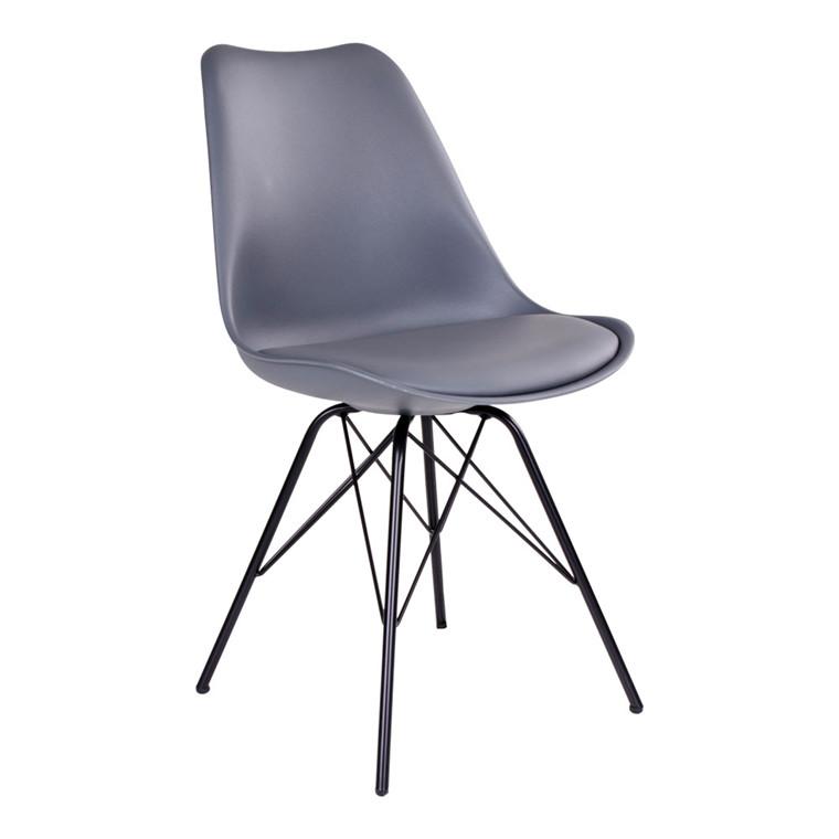 Oslo spisebordsstol - gråt sæde - sort stel