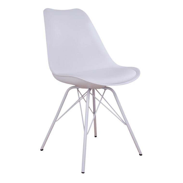 Oslo spisebordsstol - hvidt sæde - hvidt stel