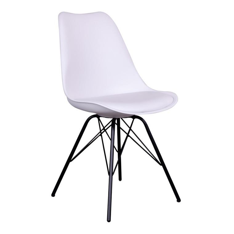 Oslo spisebordsstol - hvidt sæde - sort stel