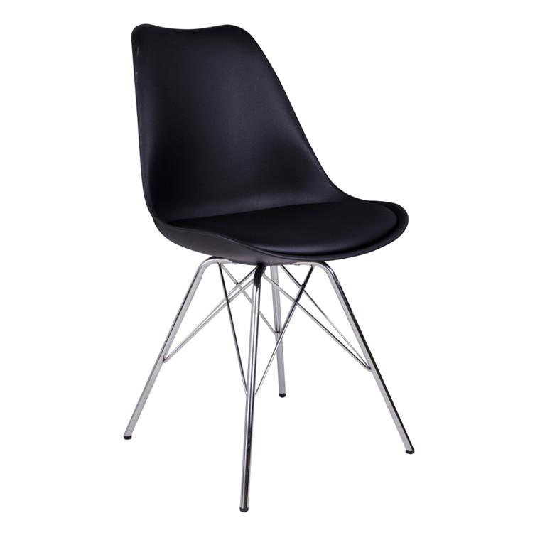 Oslo spisebordsstol - sort sæde - chrome stel