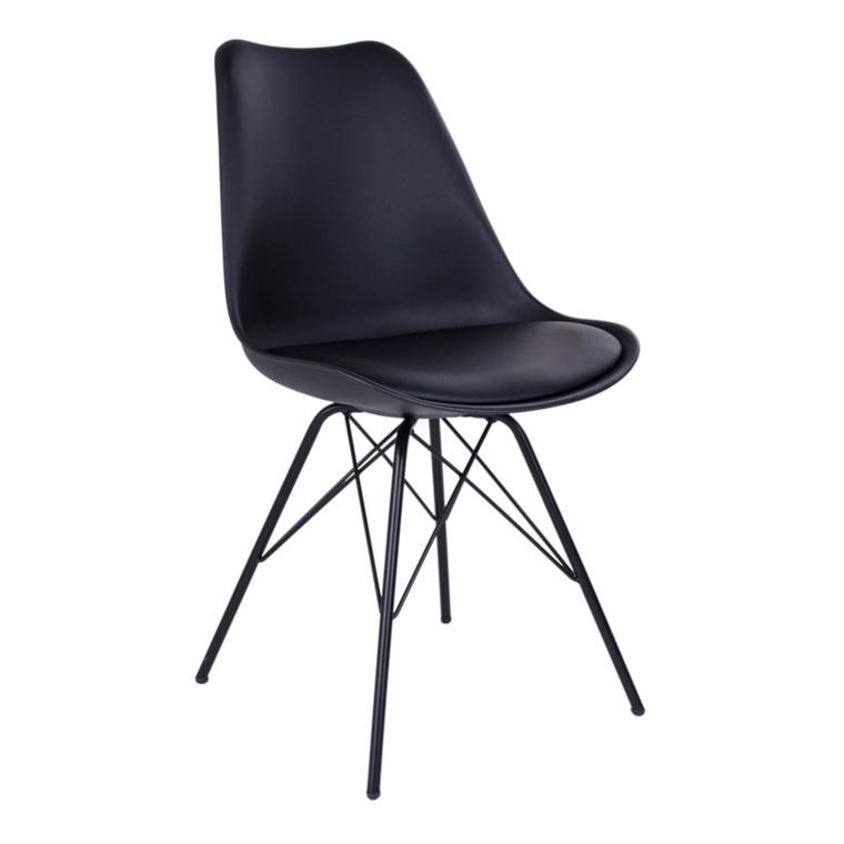 Oslo spisebordsstol - sort sæde - sort stel