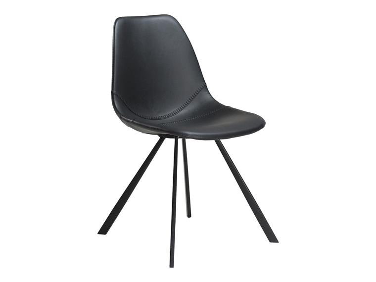 Pitch spisebordsstol - Sort læderlook med sorte ben
