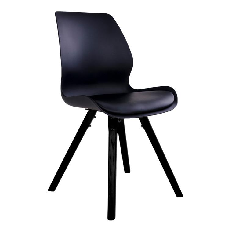 Rana spisebordsstol - sort sæde - sort stel