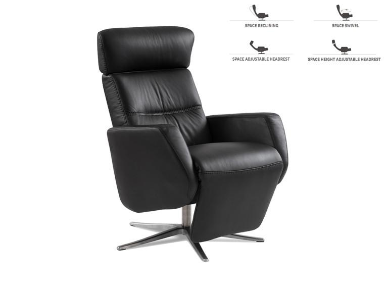 Space 3400 lænestol m. indbygget skammel - sort læder
