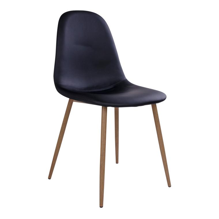 Stockholm spisebordsstol - sort sæde - trælook stel