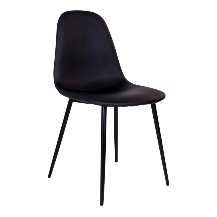 Stockholm spisebordsstol - sort sæde - sort stel