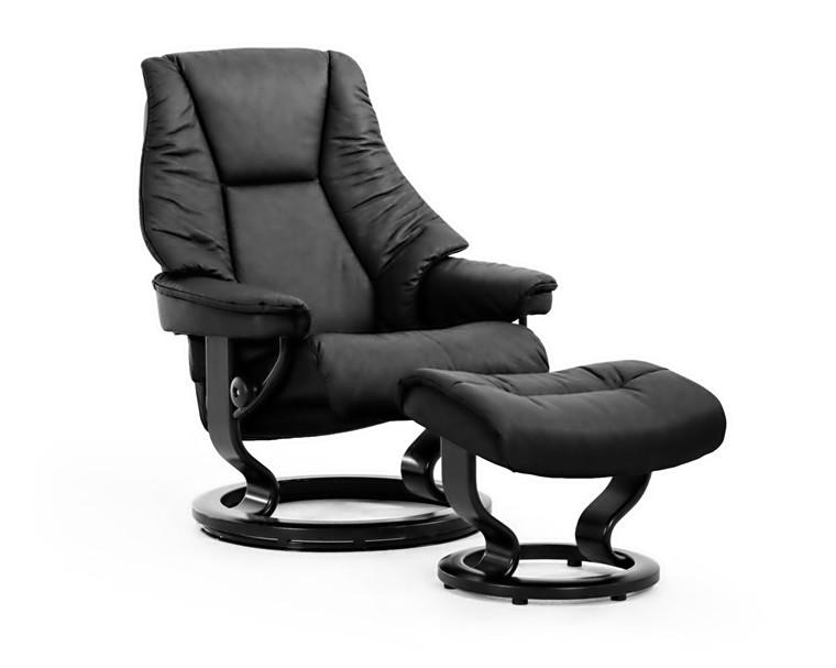 Stressless Live medium stol + skammel - sort paloma læder - sort classic stel