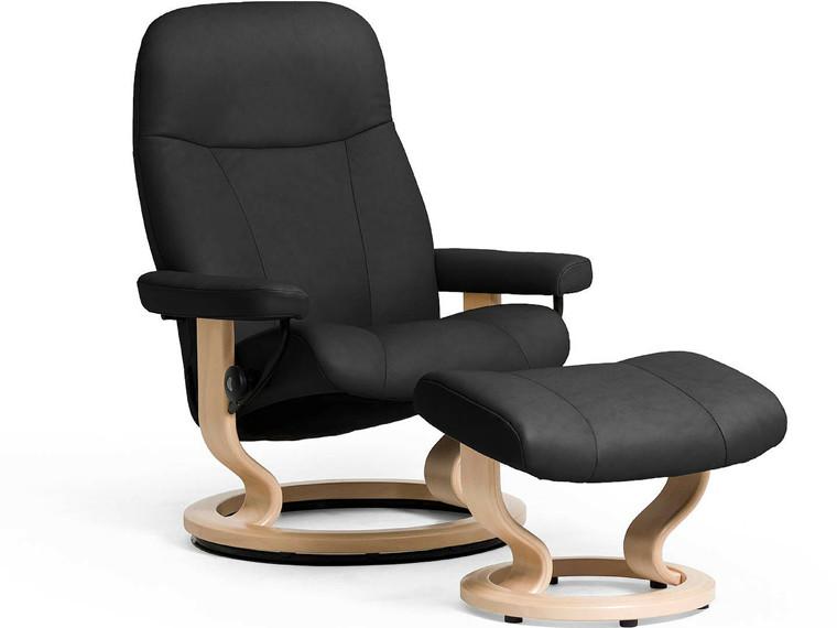 Stressless Garda lænestol inkl. skammel i sort læder - størrelse large