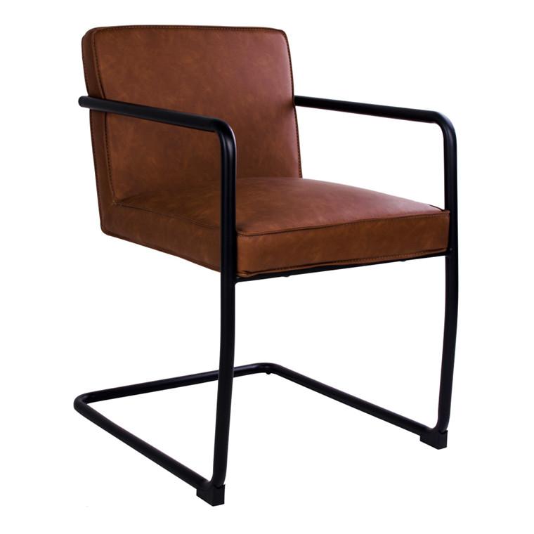 Valbo spisebordsstol - brunt sæde - sort stel