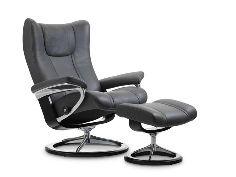 Stressless Wing medium stol + skammel - sort paloma læder - sort signature stel