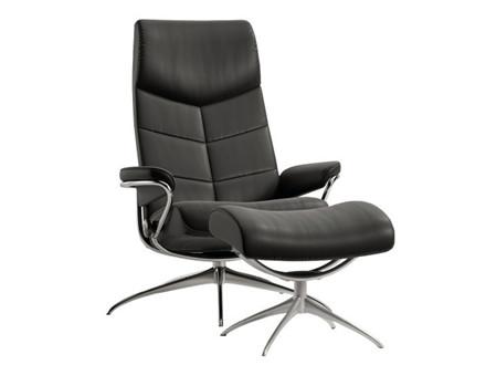 Stressless Dublin lænestol høj ryg + skammel - sort Paloma læder