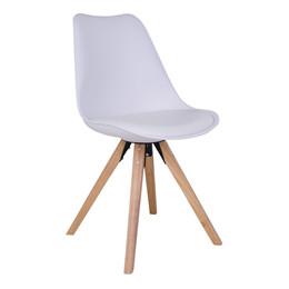 Bergen spisebordsstol - hvidt sæde - naturtræ stel