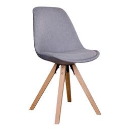 Bergen spisebordsstol - lysegråt sæde - naturtræ stel