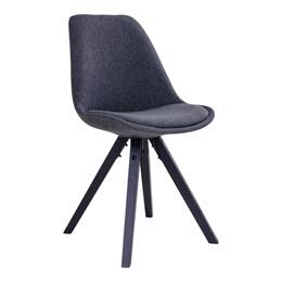 Bergen spisebordsstol - mørkegråt sæde - sort stel