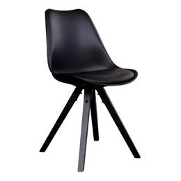 Bergen spisebordsstol - sort sæde - sort stel