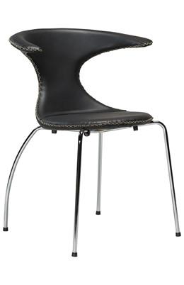 Flair spisebordsstol - Sort læder med krom ben