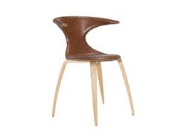 Flair spisebordsstol - Lysebrun læder m. Egeben