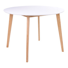 Vojens spisebord - hvid plade - natur stel