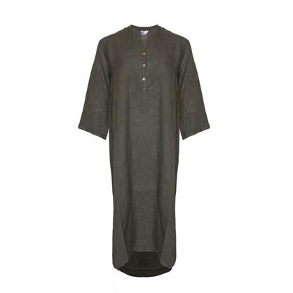 Tiffany Long Shirt Dress Linen Dark Army