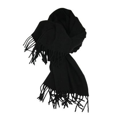 Mathlau Sort Lambswool Tørklæde