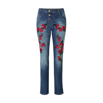 Please Classic Red Flower Jeans