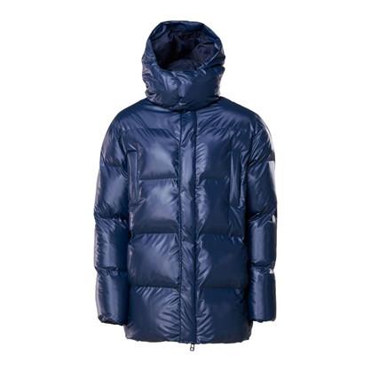 Rains Shiny Blue Puffer Hooded Coat