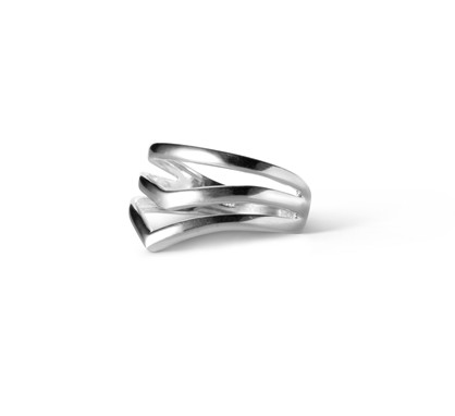 Enamel Ring V-Shape Silver