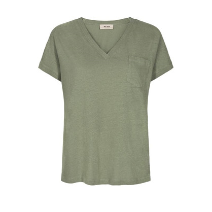 Mos Mosh Maya V-neck Tee Oil Green
