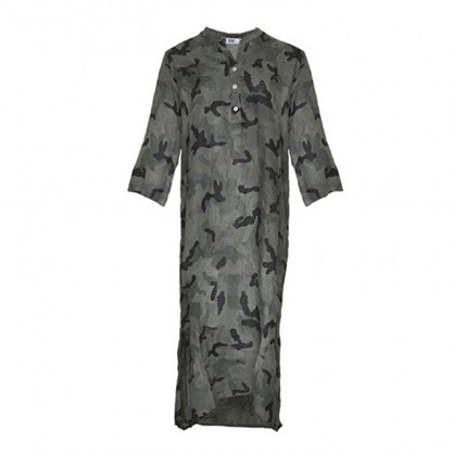 Tiffany Long Shirt Dress Linen Camouflage