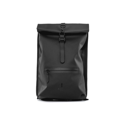 Rains Roll Top Rucksack Black