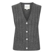 My Essential Wardrobe Jo Knit Vest Charcoal Grey Melange