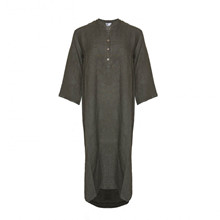 Tiffany Long Shirt Dress Linen Dark Army