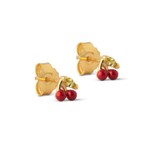 Enamel Red Cherry Stud