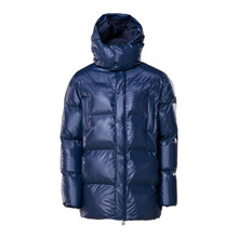 Rains Shiny Blue Puffer Hooded Coat
