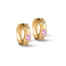 Enamel Leonora Hoops Pink/White Guld