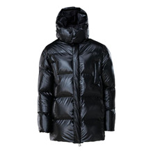 Rains Shiny Black Puffer Hooded Coat