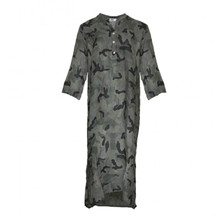 Tiffany Long Shirt Dress Linen Camouflage