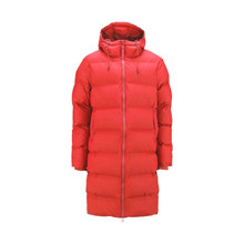 Rains Red Long Puffer Jacket
