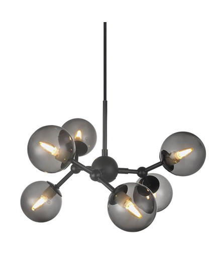 Atom Chandelier 6L G9 Sort/Smoke Glas - Halo Design