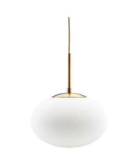 Opal Pendel Lampe Ø30cm Hvid/Messing - House Doctor