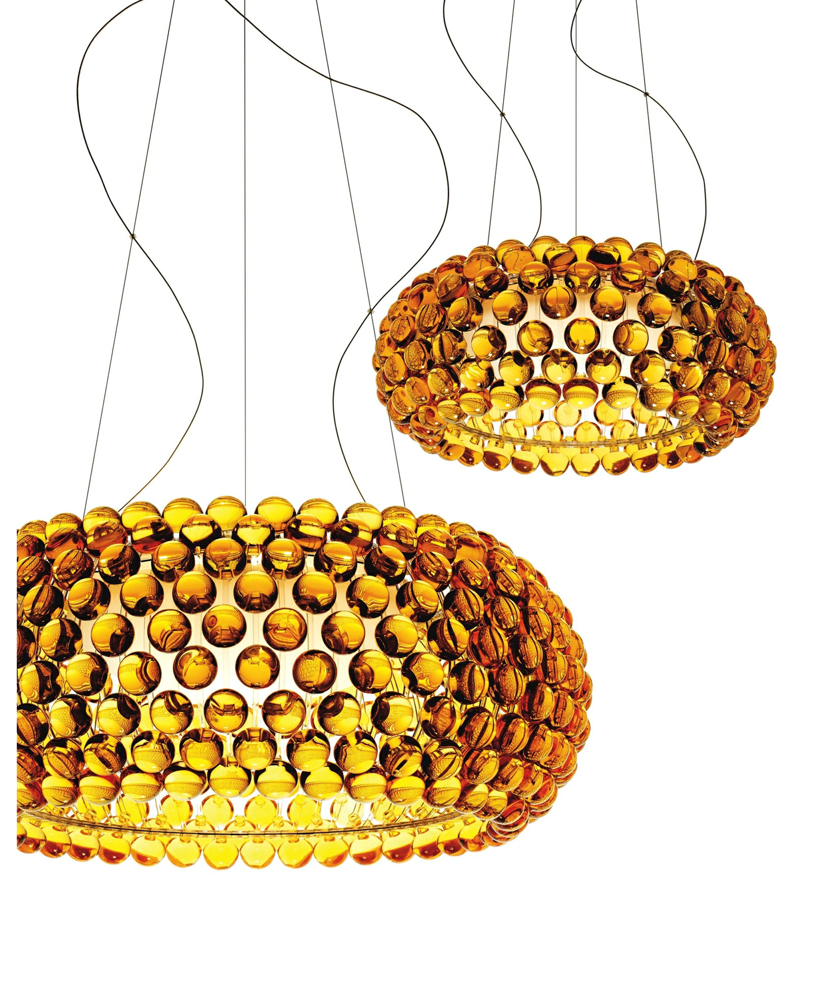 Lampe Caboche Patricia Urquiola caboche large led pendant dimmable yellow gold - foscarini