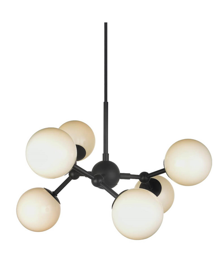 Atom Chandelier 6L G9 Sort/Opal Glas - Halo Design