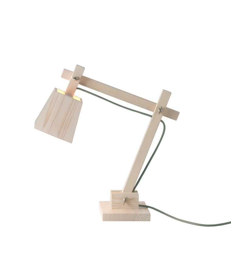 Wood Bordlampe Pine w. Dusty Green Cord - Muuto