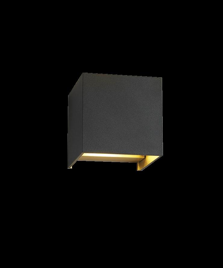 Box Up/Down Væglampe Sort/Guld - LIGHT-POINT
